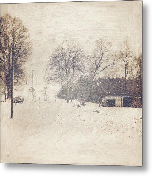 Winter Snow Storm At The Farm Metal Print