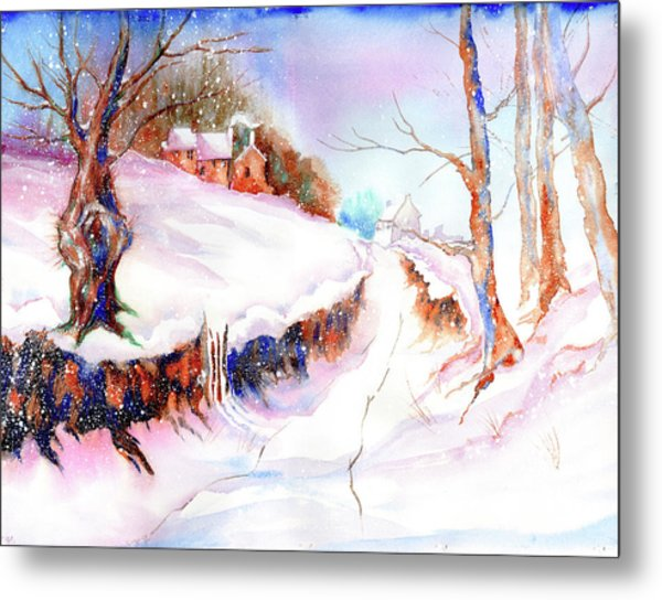 Metal Print featuring the painting Winter Snow by Xavier Francois