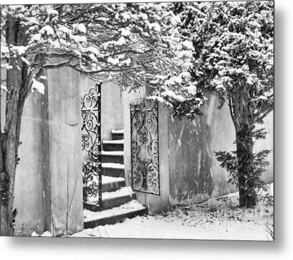 Winter Steps At The Vanderbilt In Centerport, Ny Metal Print
