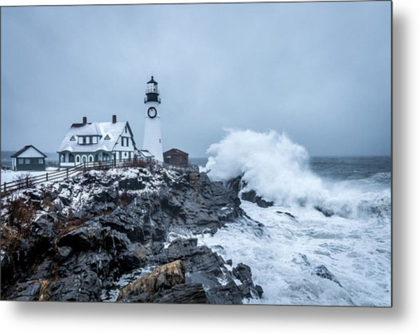 Winter Storm, Portland Headlight Metal Print