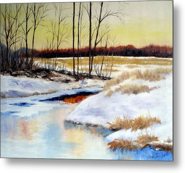 Winter Stream 1107 Metal Print by Laura Tasheiko