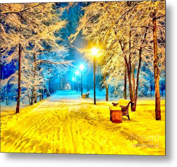 Winter Street Metal Print