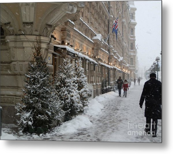 Winter Stroll In Helsinki Metal Print