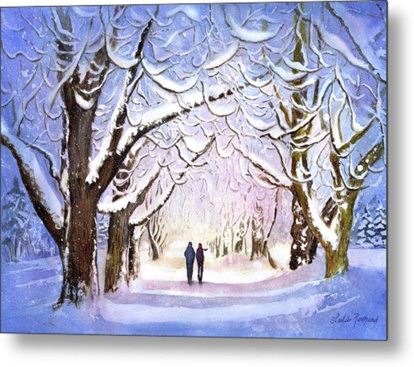 Winter Stroll Metal Print by Leslie Redhead