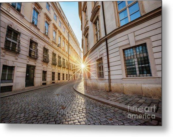 winter sun between two buildings in Vienna Metal Print