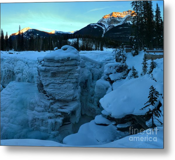 Winter Sunkiss Over Athabasca Falls Metal Print