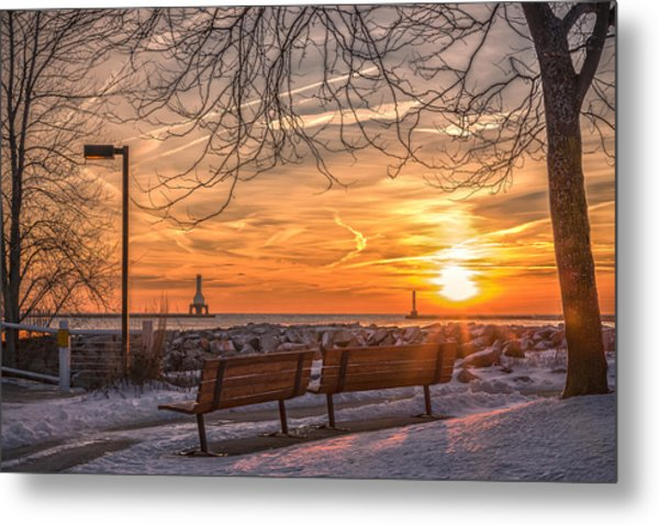 Winter Sunrise In The Park Metal Print