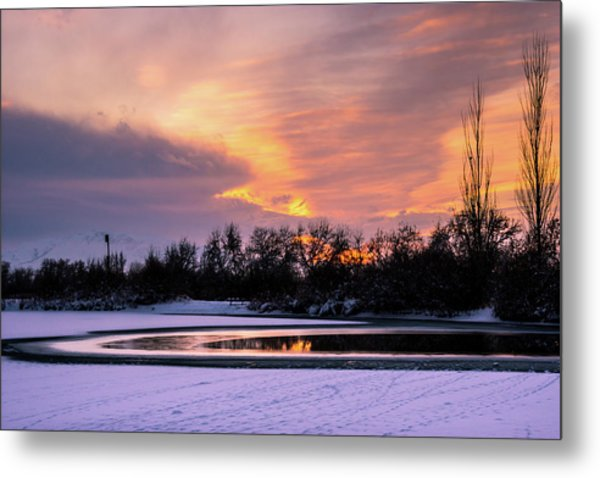 Metal Print featuring the photograph Winter Sunset by Bryan Carter