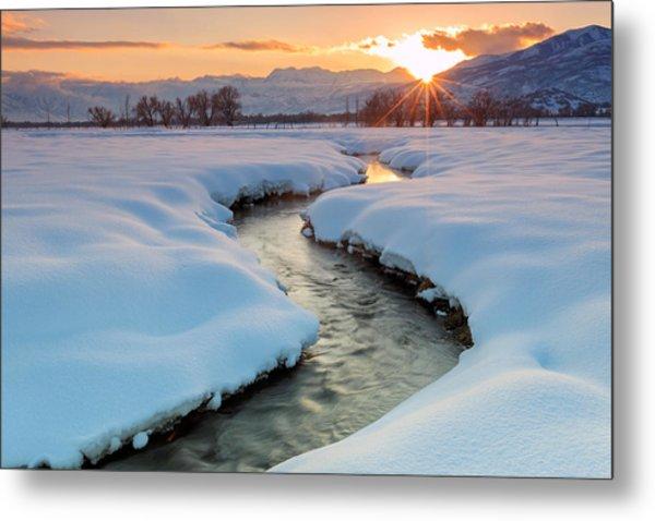 Winter Sunset In Rural Utah. Metal Print