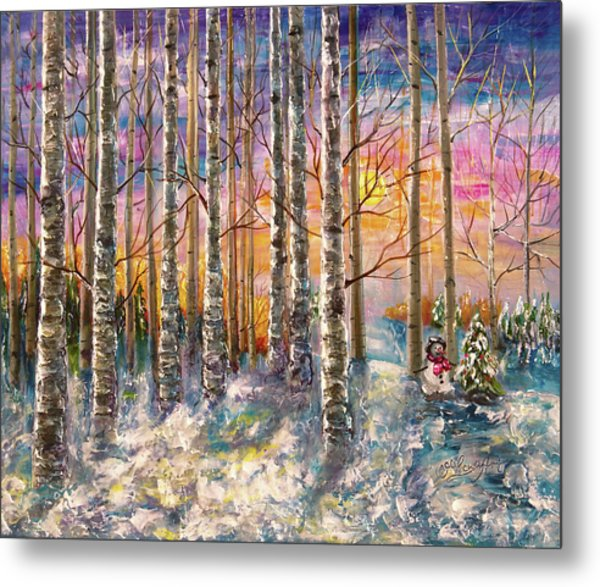 Dylan's Snowman - Winter Sunset Landscape Impressionistic Painting With Palette Knife Metal Print