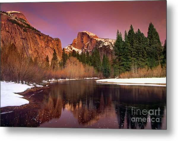 Metal Print featuring the photograph Winter Sunset Lights Up Half Dome Yosemite National Park by Dave Welling