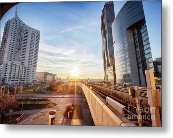 winter sunset near Vienna busness center and metro line Metal Print