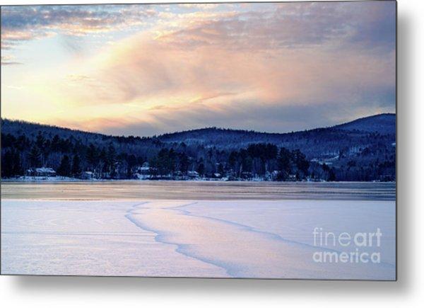 Winter Sunset On Wilson Lake In Wilton Me  -78091-78092 Metal Print