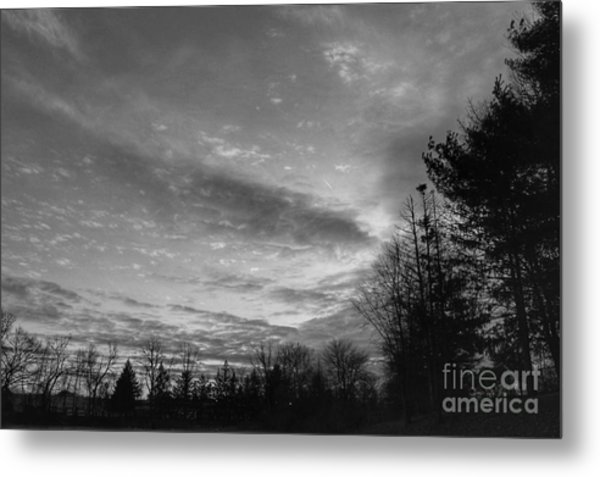 Winter Sunset On Woodland Lake Metal Print