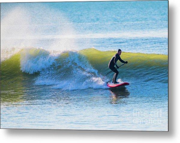 Winter Surfing In Aberystwyth Metal Print