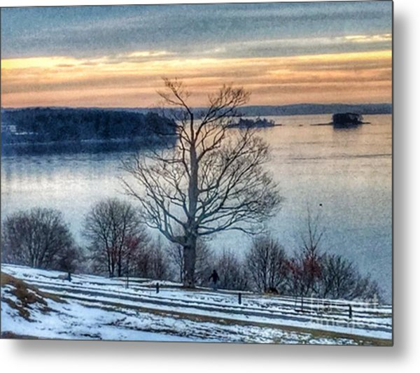 Winter Twilight At Fort Allen Park Metal Print