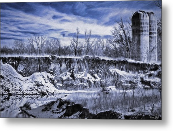 Winter Twin Silos Metal Print