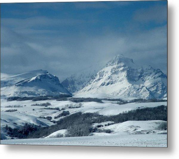 Winter View Of Rising Wolf Mountain Metal Print