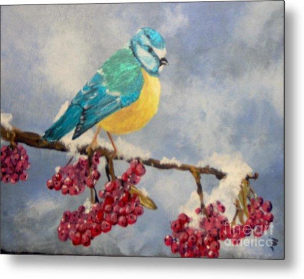 Metal Print featuring the painting Winter Watch by Saundra Johnson