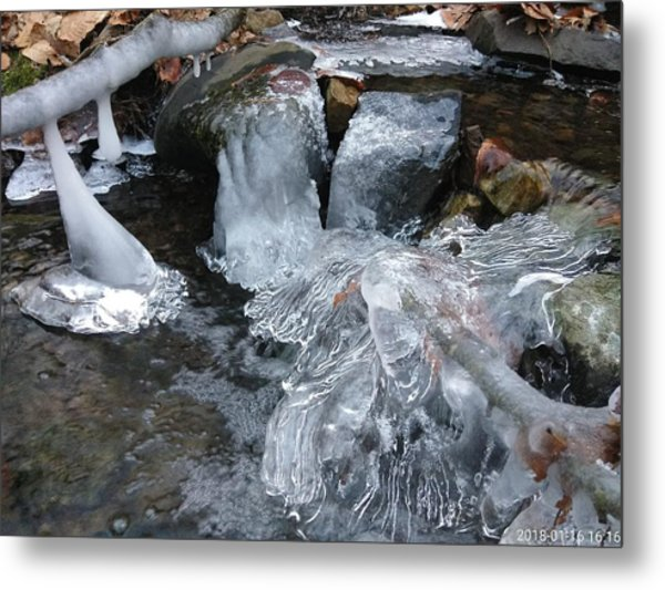 Winter Water Flow 4 Metal Print