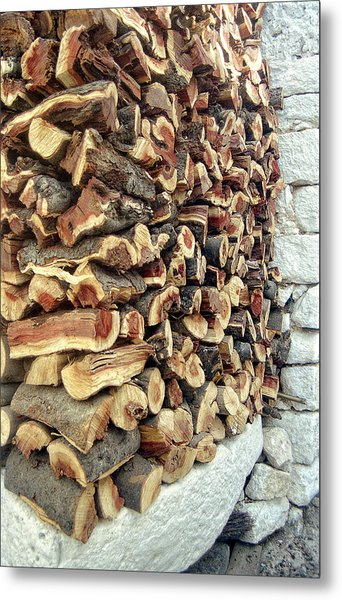 Winter Woodpile Metal Print