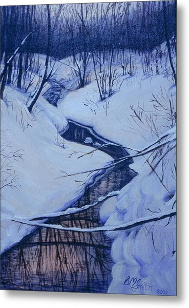 Winter's Stream Metal Print