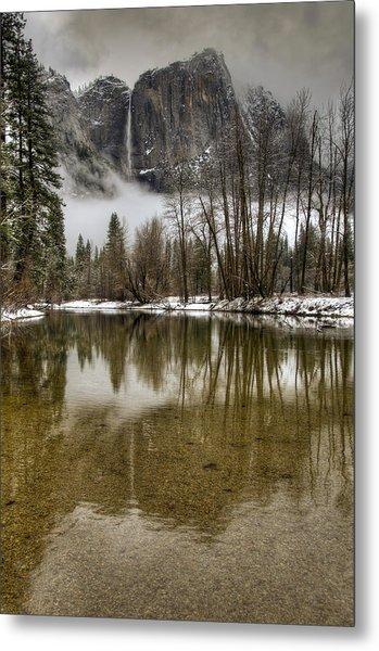 Wintery Upper And Lower Yosemite Falls  Metal Print
