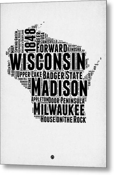 Wisconsin Word Cloud Map 2 Metal Print