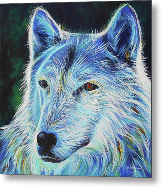 Metal Print featuring the painting Wise White Wolf by Angela Treat Lyon