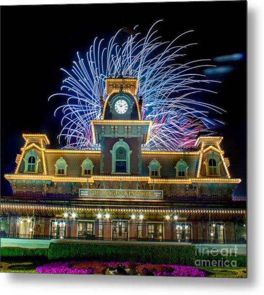 Wishes Over Magic Kingdom Train Station. Metal Print