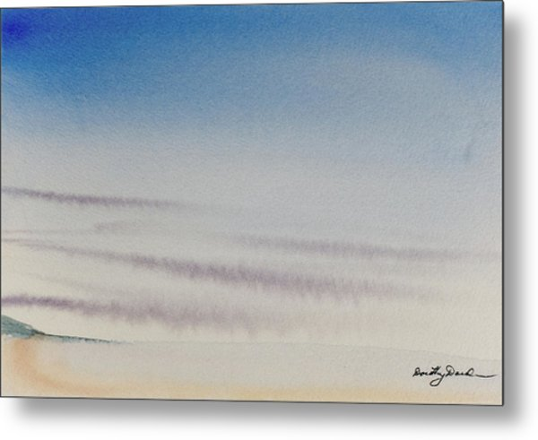 Wisps Of Clouds At Sunset Over A Calm Bay Metal Print