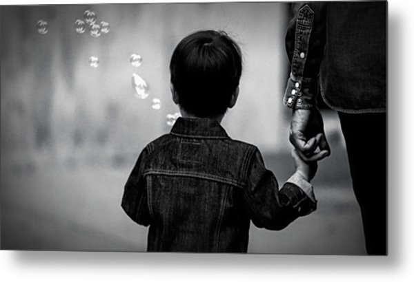 With Dad And Bubbles Metal Print by Dieter Lesche