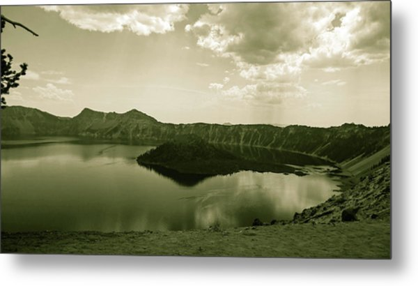 Metal Print featuring the photograph Wizard Island In Sepia by Pacific Northwest Imagery
