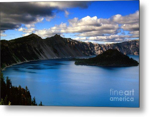 Wizard Island Stormy Sky- Crater Lake Metal Print