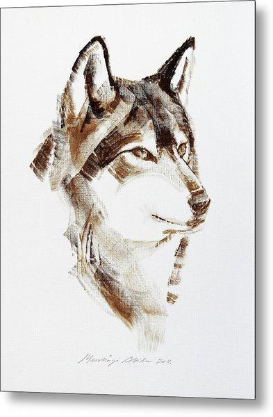 Wolf Head Brush Drawing Metal Print
