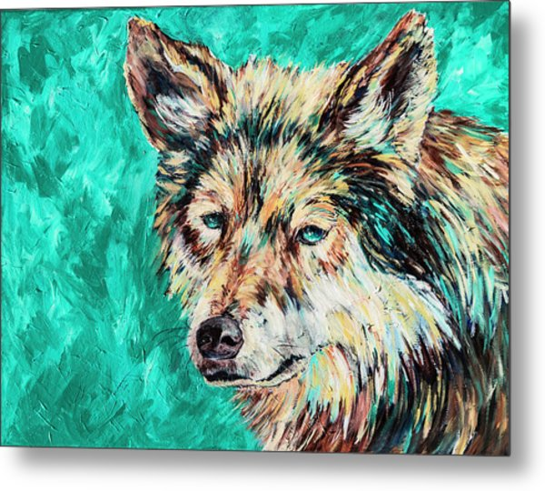 Wolf In Turquoise Metal Print