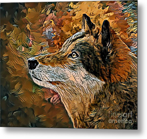 Metal Print featuring the painting Wolf by Lita Kelley