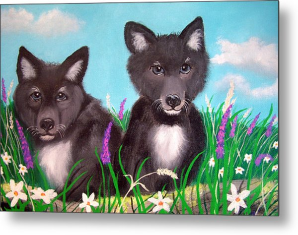 Wolf Pups Metal Print by Nick Gustafson