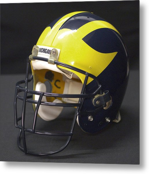 Metal Print featuring the photograph Wolverine Helmet From The 1990s by Michigan Helmet