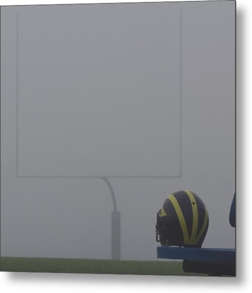 Metal Print featuring the photograph Wolverine Helmet In Heavy Morning Fog by Michigan Helmet