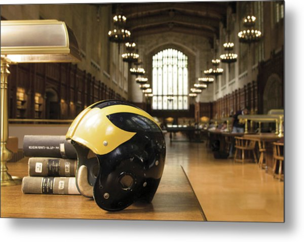 Metal Print featuring the photograph Wolverine Helmet In Law Library by Michigan Helmet
