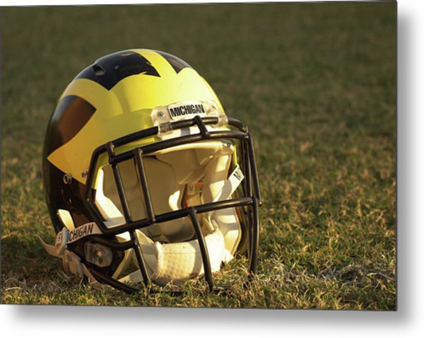 Metal Print featuring the photograph Wolverine Helmet In Morning Sunlight by Michigan Helmet