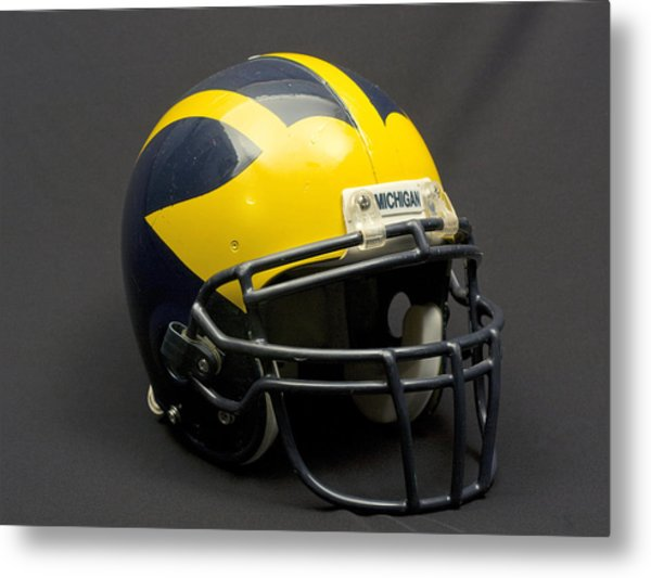 Metal Print featuring the photograph Wolverine Helmet Of The 2000s Era by Michigan Helmet