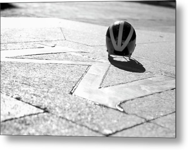 Metal Print featuring the photograph Wolverine Helmet On The Diag M by Michigan Helmet