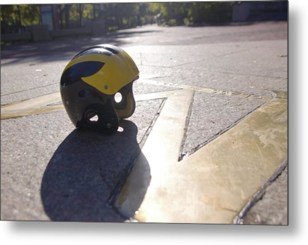 Metal Print featuring the photograph Wolverine Helmet On The Diag by Michigan Helmet