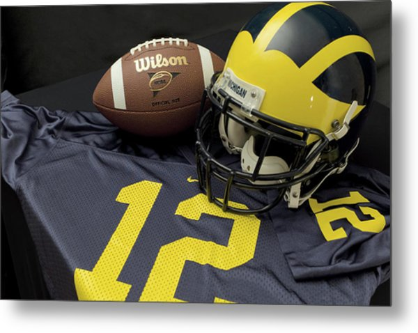 Wolverine Helmet With Football And Jersey Metal Print
