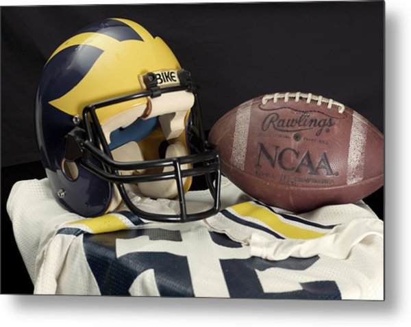 Wolverine Helmet With Jersey And Football Metal Print
