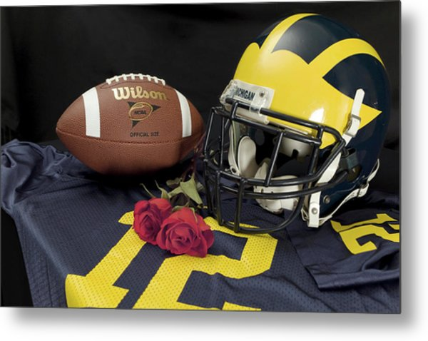 Wolverine Helmet With Roses, Jersey, And Football Metal Print