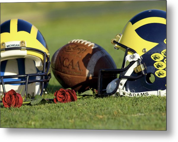 Metal Print featuring the photograph Wolverine Helmets And Roses by Michigan Helmet