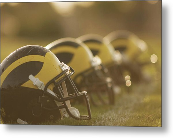 Metal Print featuring the photograph Wolverine Helmets Sparkling In Dawn Sunlight by Michigan Helmet